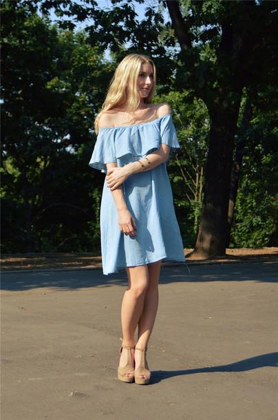 dress denim dress off the shoulder dress light blue dress mini dress high-low bottom