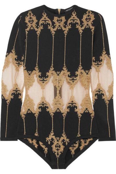 34789ec27d Balmain Balmain - Metallic Tulle-paneled Stretch-knit Bodysuit - Black