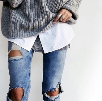 jewels ottoman silver jewellery knitted sweater grey sweater ripped jeans white shirt style blogger fashion outfit boho jewelry ring rings and tings jewelry