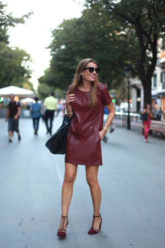 bag dress blogger sunglasses b a r t a b a c leather burgundy arm cuff pearl