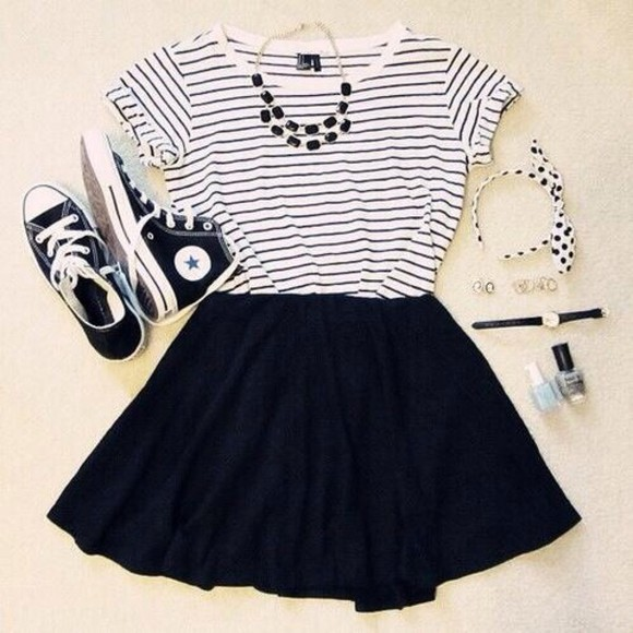 converse skirt t-shirt stripes black and white shoes weheartit girly outfit jewels necklace casual sportswear style striped chic shirt black top black skirt blouse