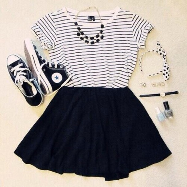 shirt, skirt, black, t,shirt, top, black skirt, dress, stripped shirt,  clothes, necklace, shoes, converse, skater skirt, blouse, stripes,  weheartit, girly,
