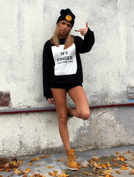 sweater sweatshirt nefertiti finger timberland boots black and white no3fingersalutesyou