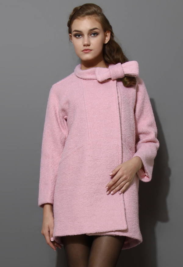 coat wool-felt tweed bowknot pink
