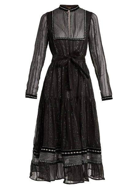 Dodo Bar Or dress chiffon dress chiffon embroidered silver black