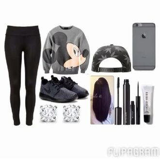 white mickey mouse nike nike roshe run t-shirt weed leggings diamonds sweater gray shoes
