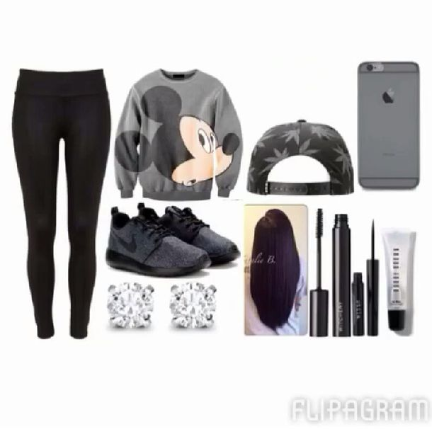white mickey mouse nike nike roshe run t-shirt weed leggings diamonds sweater grey shoes jewels pants