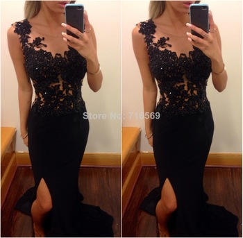 Aliexpress.com : Buy New 2013 Venis Film Festival Sexy See through Zuhair Murad couture Black Celebrity Dresses Evening dresses Short sleeves BO2210 from Reliable dresses evening short suppliers on Suzhou Babyonline dress Co.,LTD