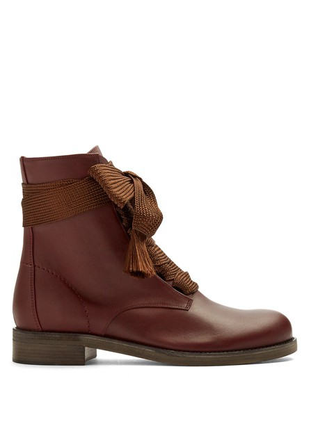 Chloe leather ankle boots ankle boots lace leather burgundy shoes