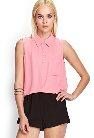 Sheer Collared Pocket Blouse | FOREVER21 - 2000123372