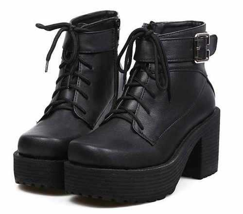 2013 Womens Block heels Chunky Platform Goth Lace Up Lady's Combat Ankle Boots A-in Boots from Shoes on Aliexpress.com