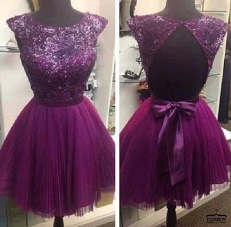 dress lilac tulle dress glitter partial open back open back bow