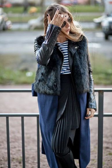 stripes blogger fall outfits acid coke jacket faux fur jacket pleated skirt