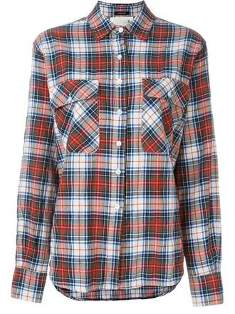 shirt back zip print red top