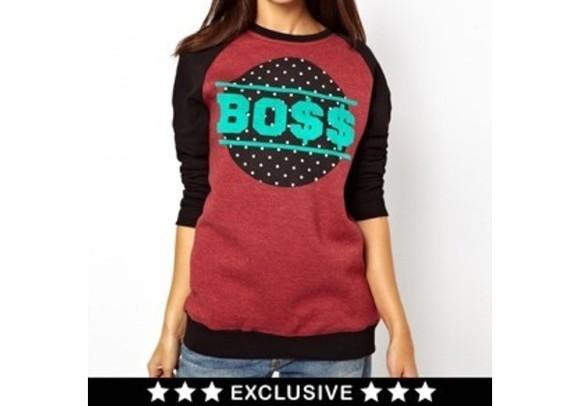polka dot boss pullover $$
