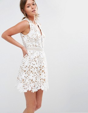 New Look Premium Plunge Crochet Lace Skater Dress at asos.com