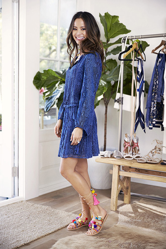 dress sandals blogger blue blue dress snake print mini dress summer dress summer outfits jamie chung shoes all blue outfit mabu by maria bk