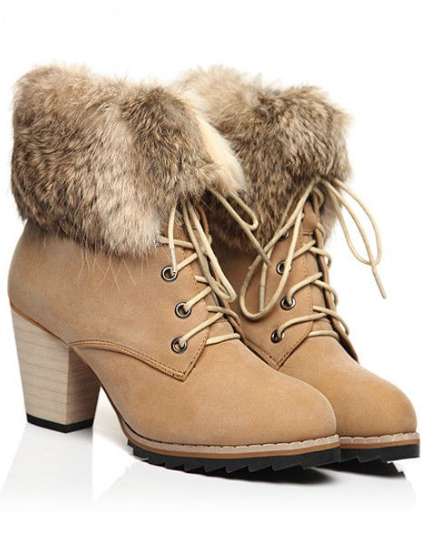Womens Apricot Short Heel Winter Boots with Ankle Fur Ladies Warm Shoes New C23 | eBay