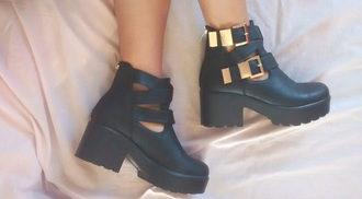 shoes black buckles grunge boots