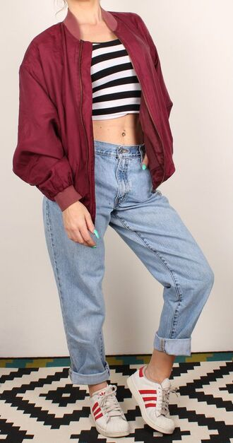 jacket red bomber jacket bomber jacket adidas jeans red grunge mom jeans shoes
