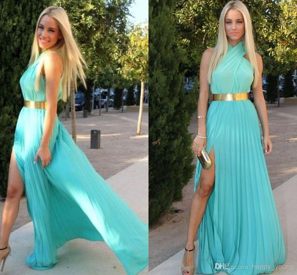 Cheap Long Sleeve Prom Dresses - Discount Sexy Turquoise Chiffon with Gold Belt Prom Dress Online with $89.01/Piece | DHgate