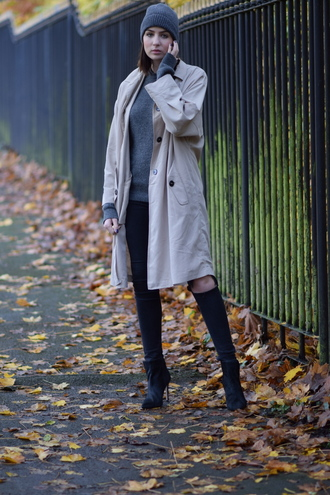 shot from the street blogger ripped jeans trench coat beanie