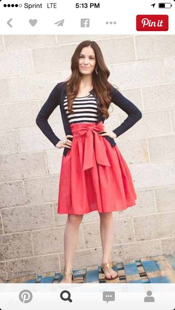skirt coral skirt with bow stripe tank navy cardigan