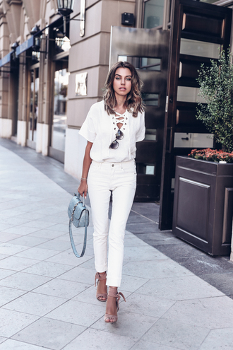 viva luxury blogger shoes jewels top tumblr white top lace up lace up top sandals sandal heels high heel sandals denim jeans white jeans