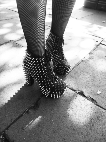 shoes spiked shoes platform shoes black shoes