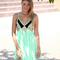 Green party dress - mint & black sequin embellished | ustrendy