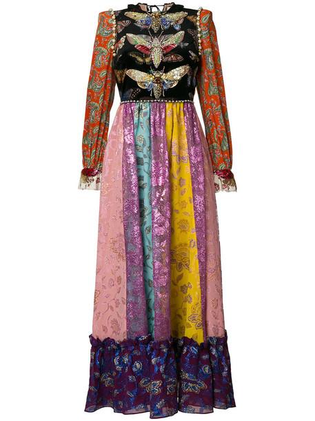 gown embroidered women spandex silk dress