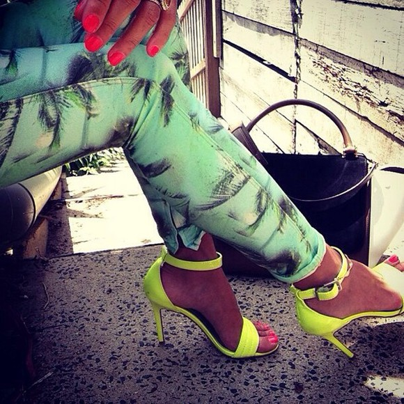 jeans tropical tropical print leggings tropical jeans leggings mint green high heels neon neon yellow summer outfits