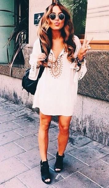 shoes midleg dress dress white and gold!!! white dress gold boho bohemian boho dress bohemian dress peasant dress white summer dress spring dress gypsy hippie festival festival dress hippie style desert style