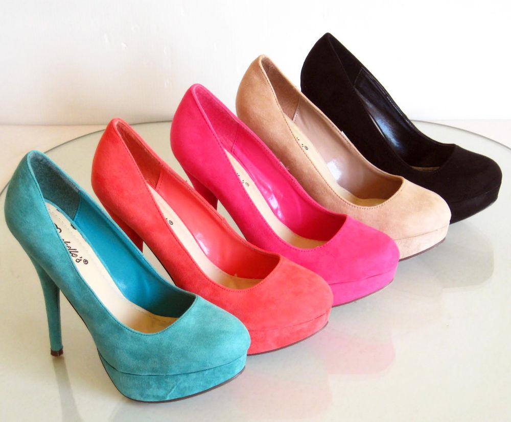 New Stilettos Platform High Heel Pumps Suede Pink Black 5 6 6.5 7 7.5 8 8.5 9 10