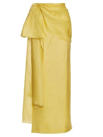 skirt jacquard floral silk yellow