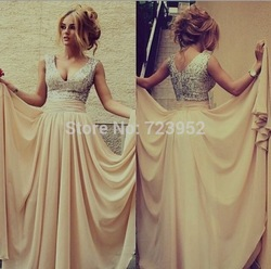 Online Shop New Style 2014 V-Neck Sequined Long Chiffon Sleeveless Elegant Sexy Prom Dresses 2014|Aliexpress Mobile