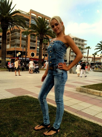 jumpsuit denim jeans skinny slim blue blue jeans