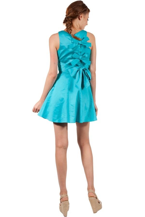 dress blue blue dress bows bow back cute skater dress v neck Bow Back Dress