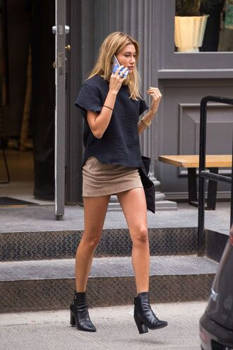 top hailey baldwin off duty model new york city leather ankle boots skirt suede mini