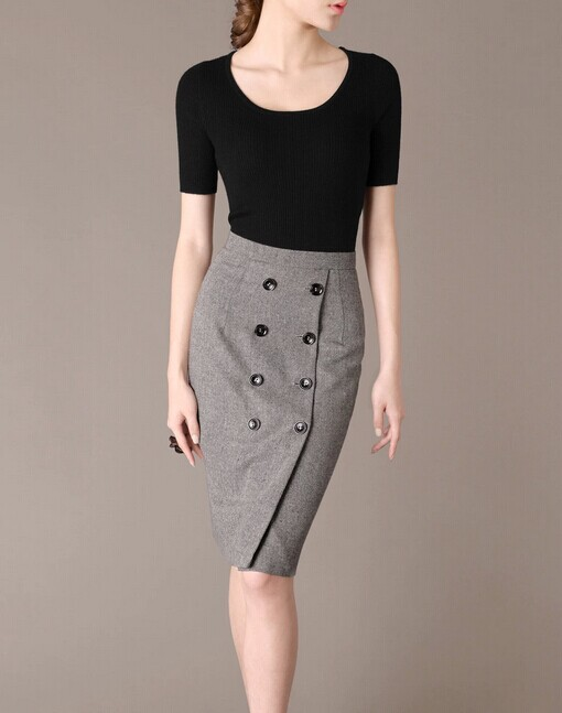Grey Woolen Elegant Noble Summer OL Slim Women Fashion Skirt lml7074 - ott-123 - Global Online Shopping for Dresses