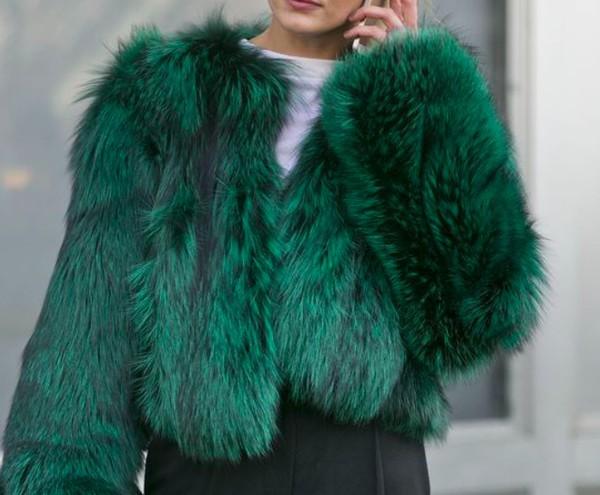 jacket fur green new york city nyfw2014 fur coat