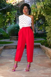 top,pants,red pants,cropped pants,clubwear,sandals,white top,striped top,stripes,date outfit,sandal heels,spring outfits
