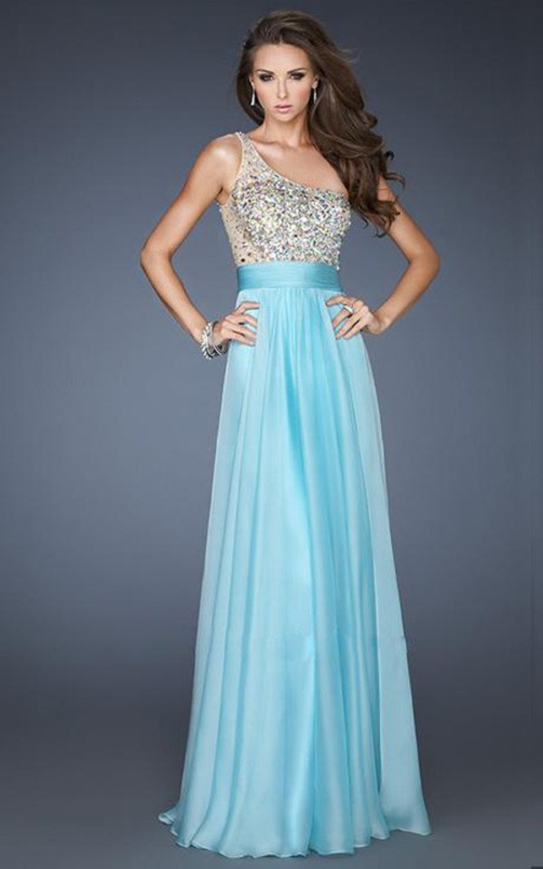 blue dress one shoulder dress chiffon dress prom dress prom dress prom dress graduation dresses la femme dresses dress