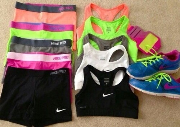 sportswear blue sneakers nike shorts nike running shoes nike shoes nike air bra sports bra shoes running shoes nike pro shorts neon colors pants