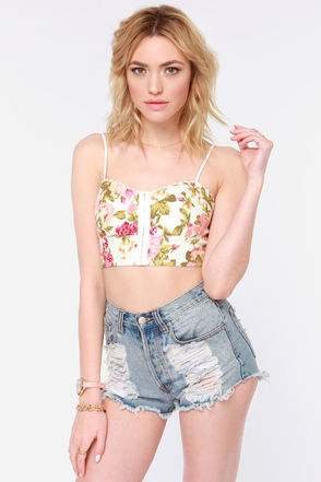 Cute Floral Print Top - Bustier Top - Crop Top - $40.00