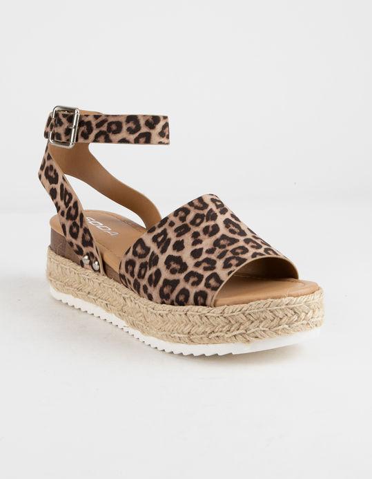 SODA Topic Cheetah Womens Espadrille Flatform Sandals - CHEET - 333553436