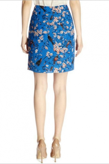 Blue Bird Printing High Waist Skirt