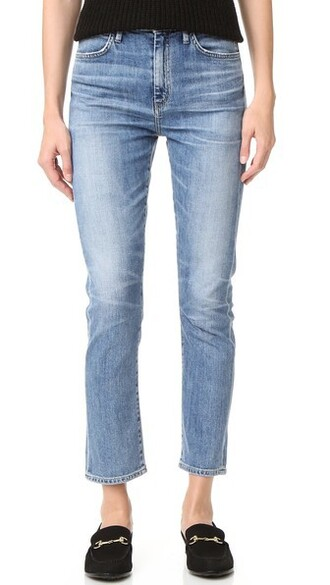 jeans straight jeans cropped high