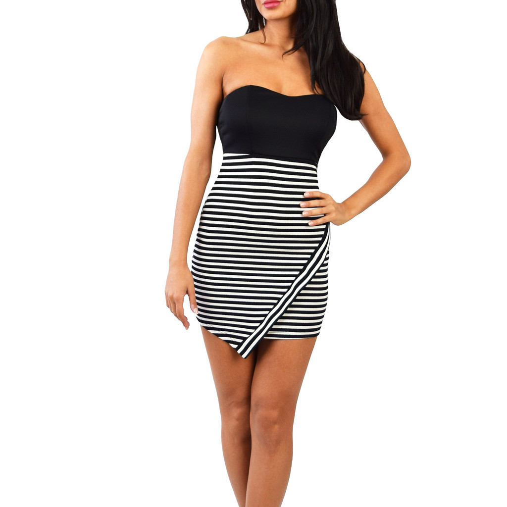 Stripe Asymmetrical Sweetheart Dress | Emprada