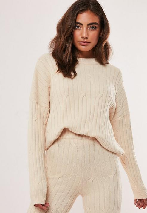Stone Co Ord Cable Crew Knitted Jumper